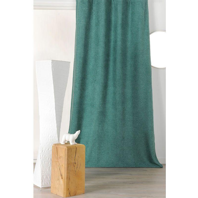 Rideau Epais Aspect Laine Chinee A Galon Fronceur Vert Sapin 140 X 250 Cm Homemaison Curtains Home Decor
