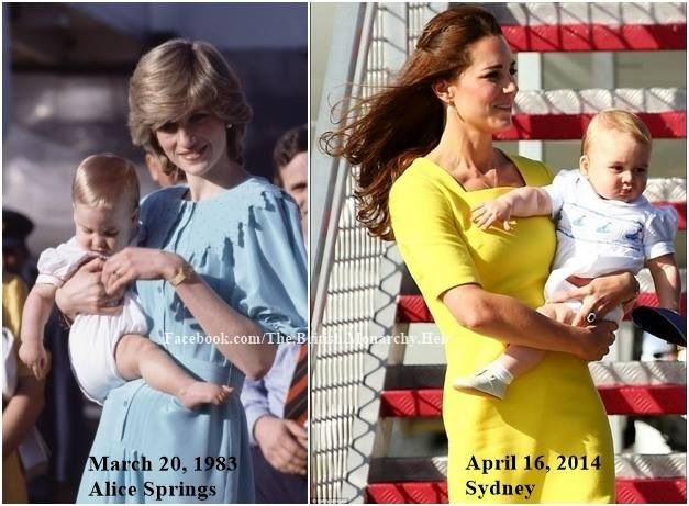 Prince William and Prince George wearing similar outfits.