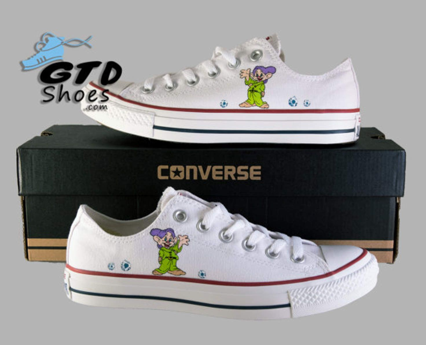 cddb9aeea528 Hand Painted Converse Low. Snow Whites Dopey. Disney. Seven Dwarfs.  Handpainted shoes.
