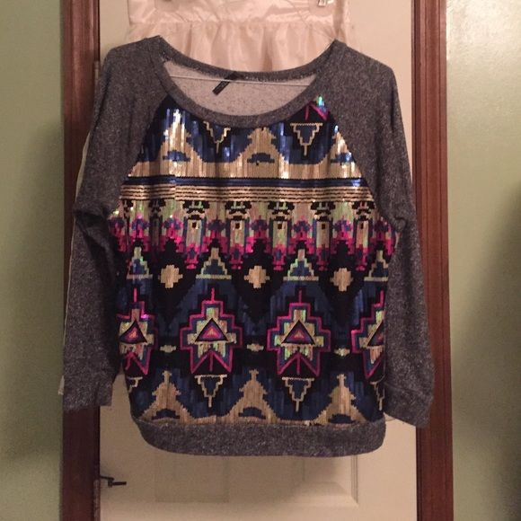 Sequin Aztec Top Yetts sequin Aztec top with quarter length sleeve. Size M. 60% cotton, 40% polyester Tops