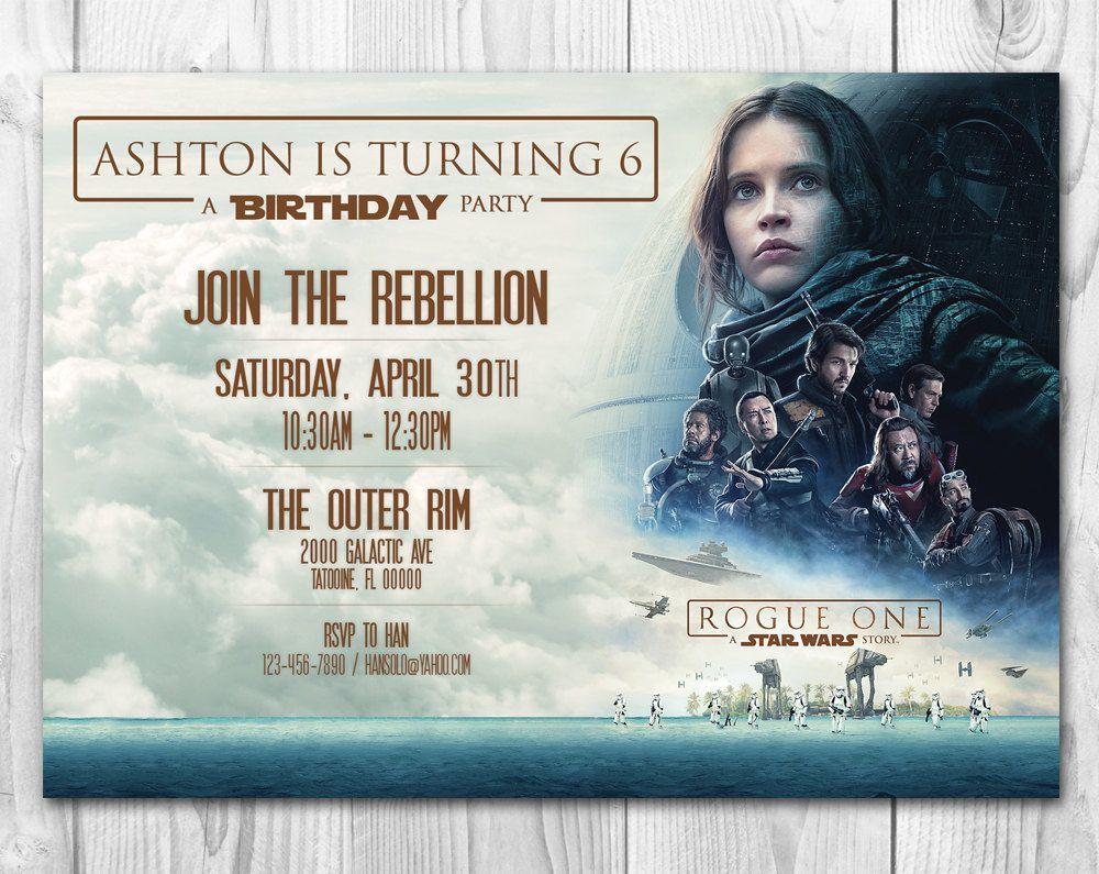 Rogue One Invitations, Star Wars Invitations, Star Wars Birthday ...