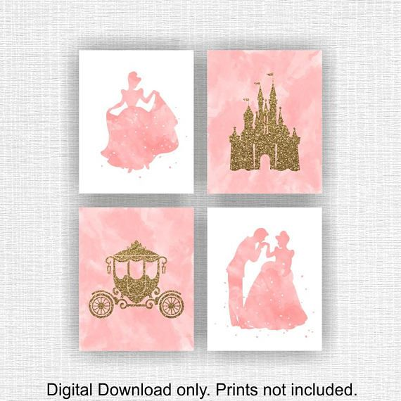 Disney Princess Wall Decor Pink Watercolor and Gold glitter   Decor ...