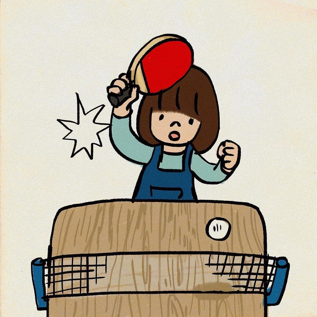 スポーツの秋 おうち卓球 食卓 イラスト My Illustration