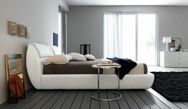 wand-streichen-ideen-für-schlafzimmer-weißes-bett-graue-wand