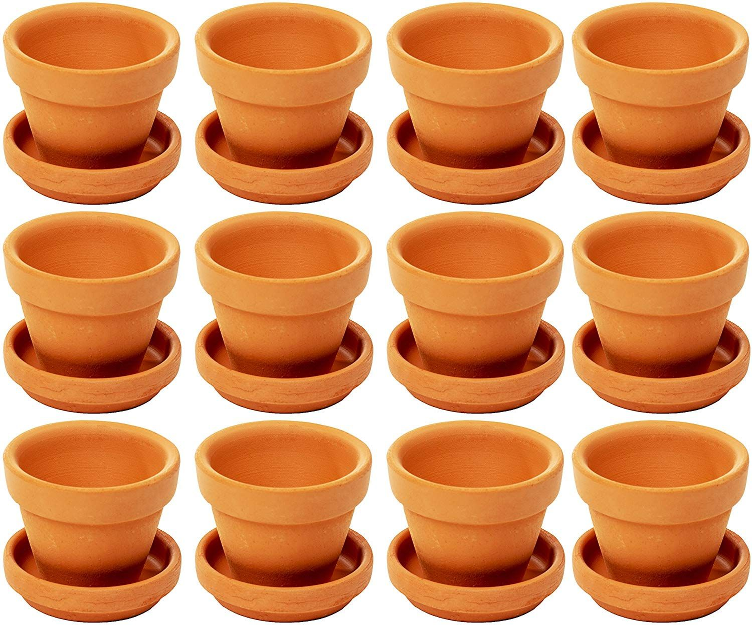 Juvale Small Terra Cotta Pots With Saucer 12 Pack Clay Flower Pots With Saucers Mini Flower Pot Planters For Indoor Outdoor Plant Succulent Display Brown In 2020 Clay Flower Pots Small