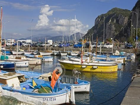 Photographic Print: Fishing Boats in the Port of Marina Grande, Capri Island, Bay of Naples, Campania, Italy, Europe by Richard Cummins : 24x18in