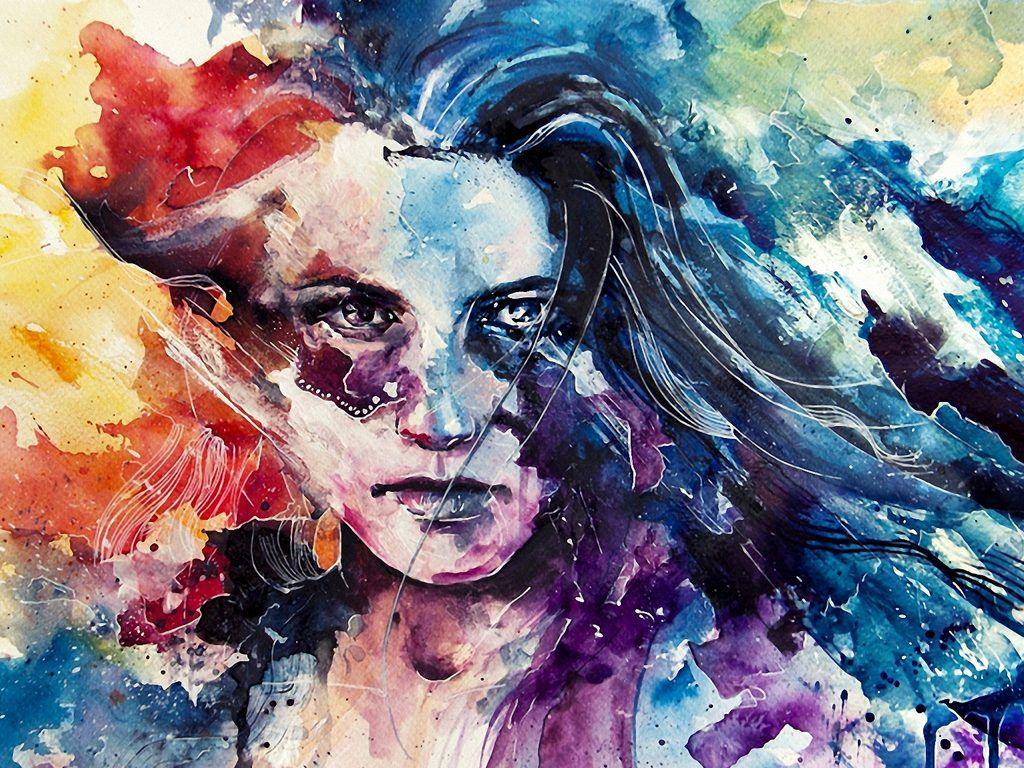 52 Cool Hd Backgrounds Watercolor Portrait Painting Agnes