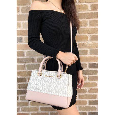 81a83c791daa Michael Kors Kellen XS Satchel Vanilla MK Signature Ballet Pink Crossbody  Bag