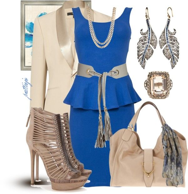 """""""Nude-y Blue"""" by rockreborn ❤ liked on Polyvore"""