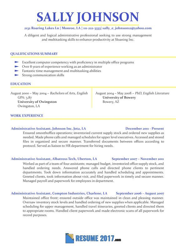 example of professional secretary resume