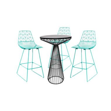 I love the look of the teal colored wire chairs with the ...