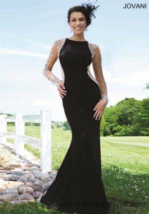 Long Black Beaded Jovani 99172 Long Sleeves Prom Dress 2015 ...