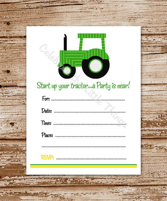 printable / green tractor invitation / fill in the blank / you're, Birthday invitations