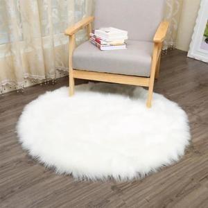 Tapis Salon Carpet Tapis Chambre D Enfant Mouton Tapis Imitation Environ Blanc Diametre 60cm Tapis Chambre Tapis Shabby Chic Tapis Peau De Mouton