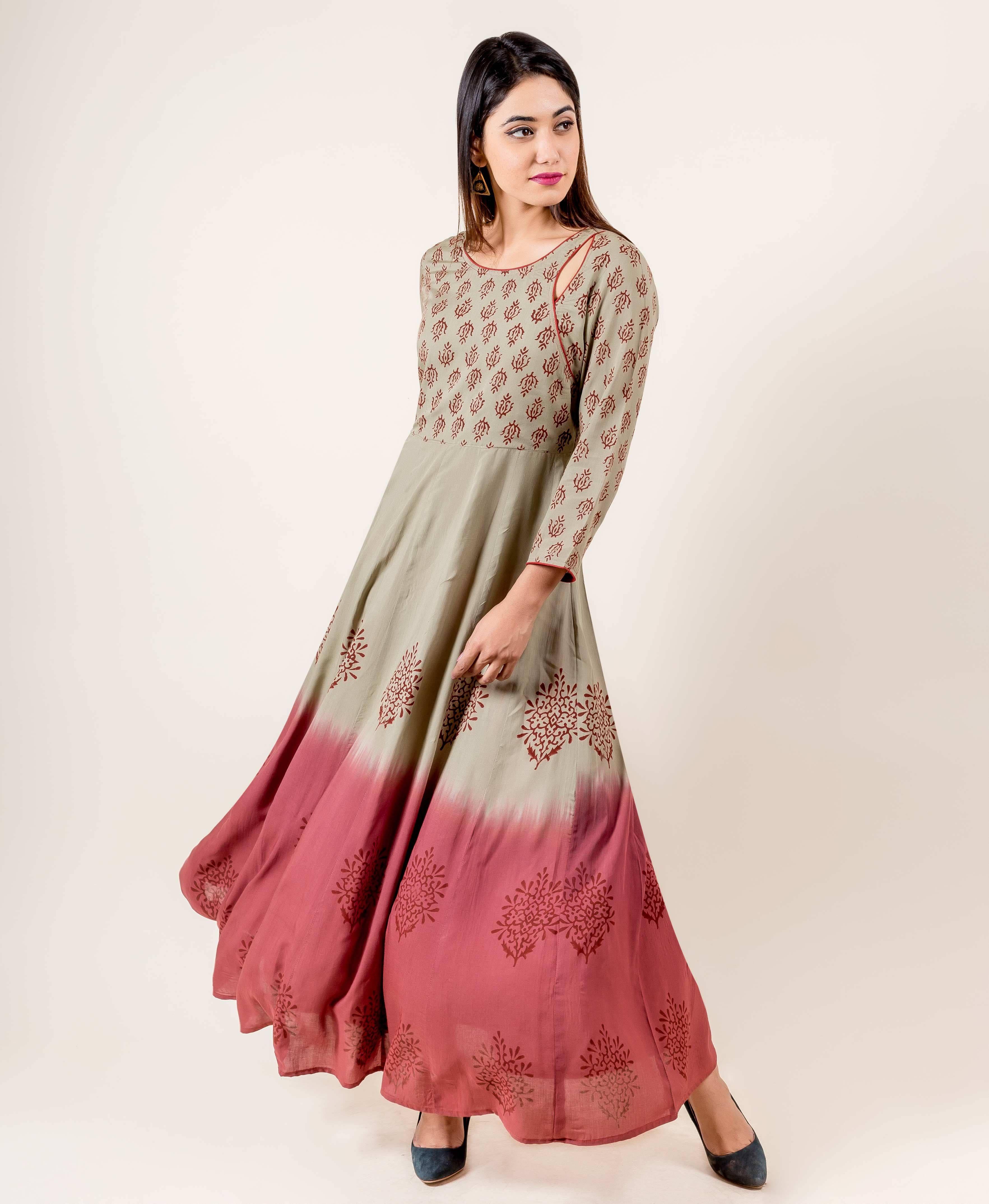 622401c8ceb Splendid Hand Block Printed Indowestern Outfit in 2019