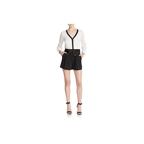 Alice + Olivia Baron Mixed Media Short Jumpsuit featuring polyvore, women's fashion, clothing, jumpsuits, short sleeve romper, short romper jumpsuit, v neck romper, white jumpsuit and short sleeve jumpsuit