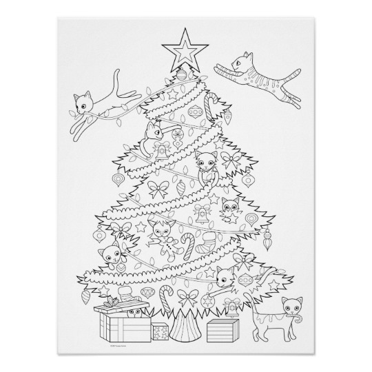 Cats In Christmas Tree Coloring Poster Zazzle Com Christmas Coloring Books Free Christmas Coloring Pages Christmas Coloring Pages