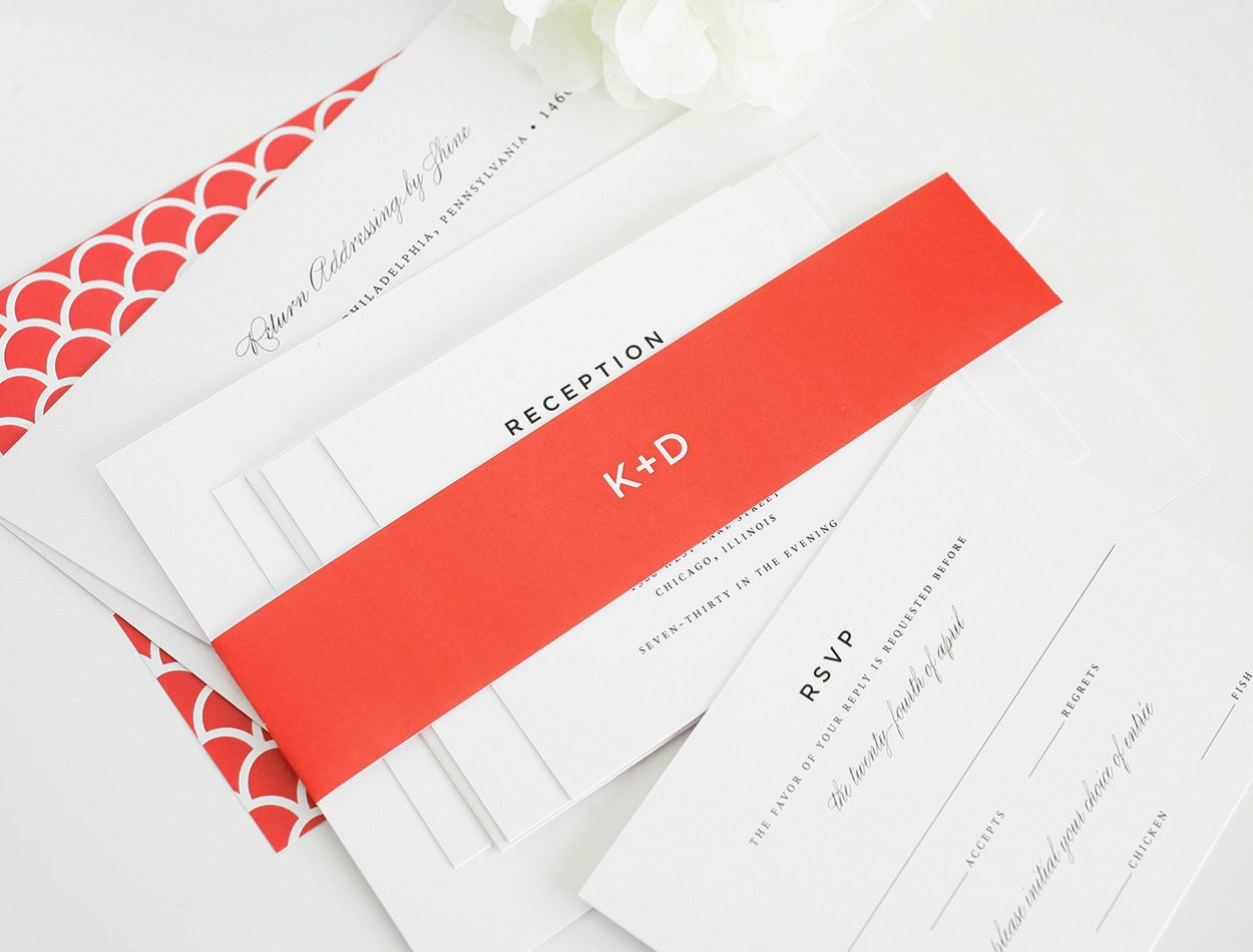 Classic Wedding Invitations with Red Accents | Discover more ideas ...