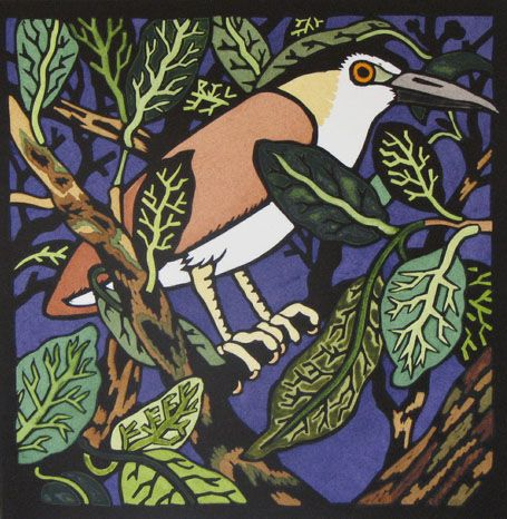 Kit Hiller - Night Heron - hand colored linocut   -   We saw one of these when we were on Kauai a few years ago.