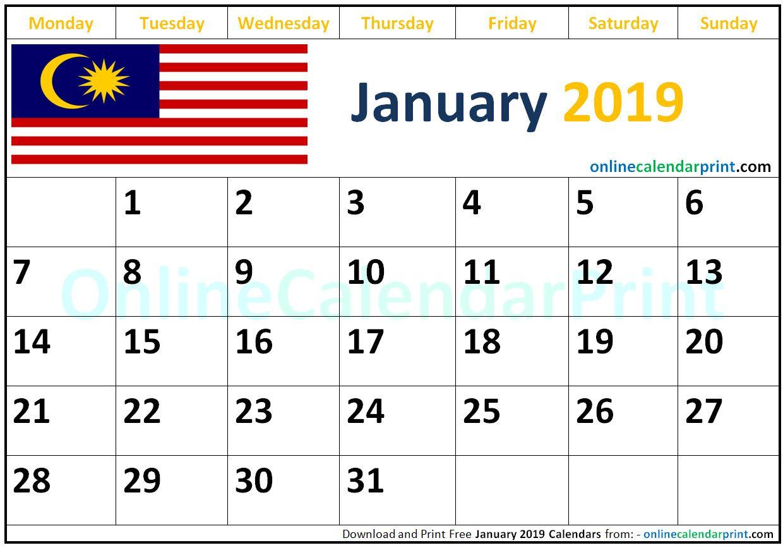 January 2019 Calendar Malaysia Monthly Calendar Template