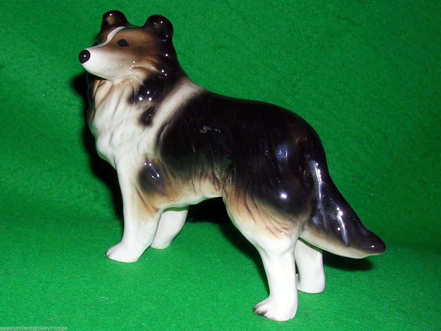 Vintage Ceramic Coopercraft Border Collie Dog Ornament Figurine