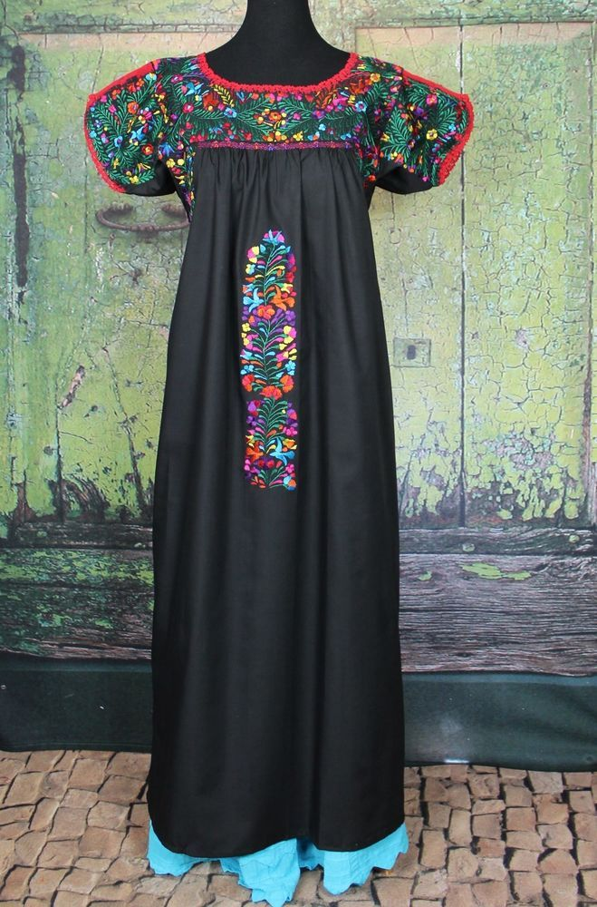 2cddae3c0b Black   Multi Colored Hand Embroidered Mexico San Antonio Wedding Dress  Hippie  Handmade  MexicanDress