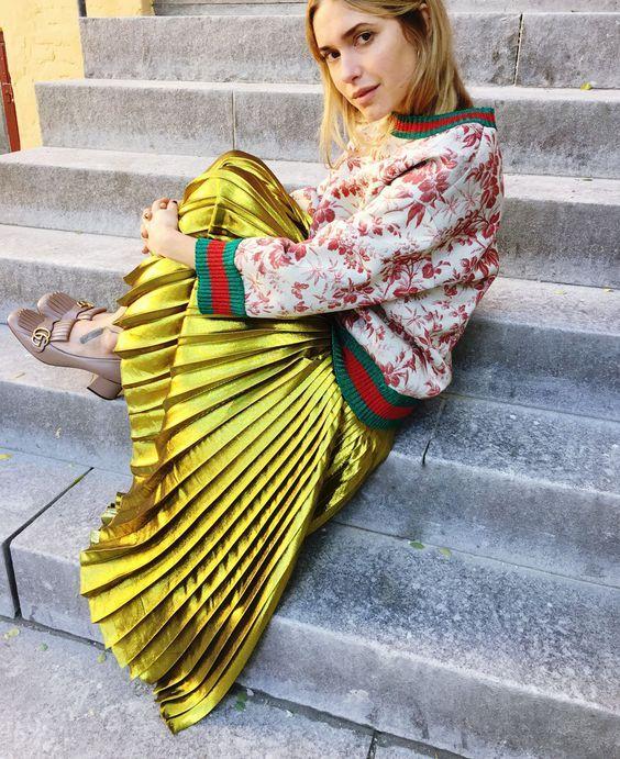 metallic pleated midi skirt Time for Fashion waysify