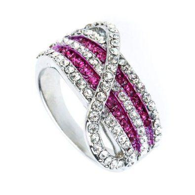Arinna Ladies Simple Fuchsia Cocktail Fashion Ring Wgp Swarovski Clear Crystal