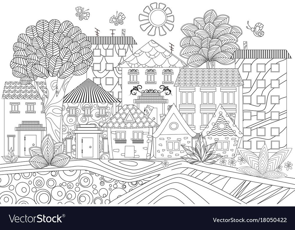 Funny Cityscape For Coloring Book Vector Image On Vectorstock Family Coloring Pages Coloring Books Cool Coloring Pages