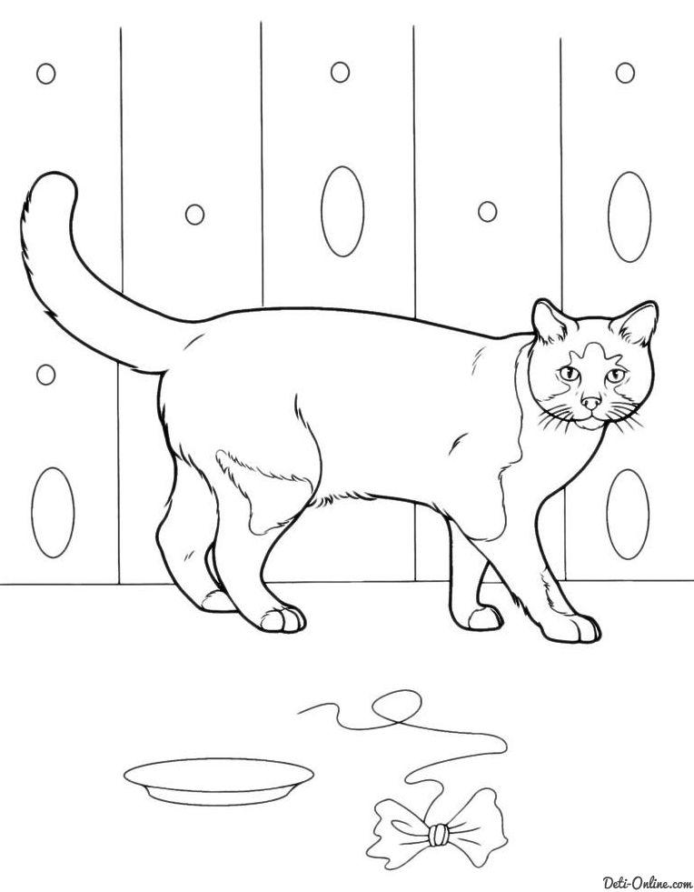 Раскраска Кошка и игрушка-бантик | Раскраски Коты, кошки и ...