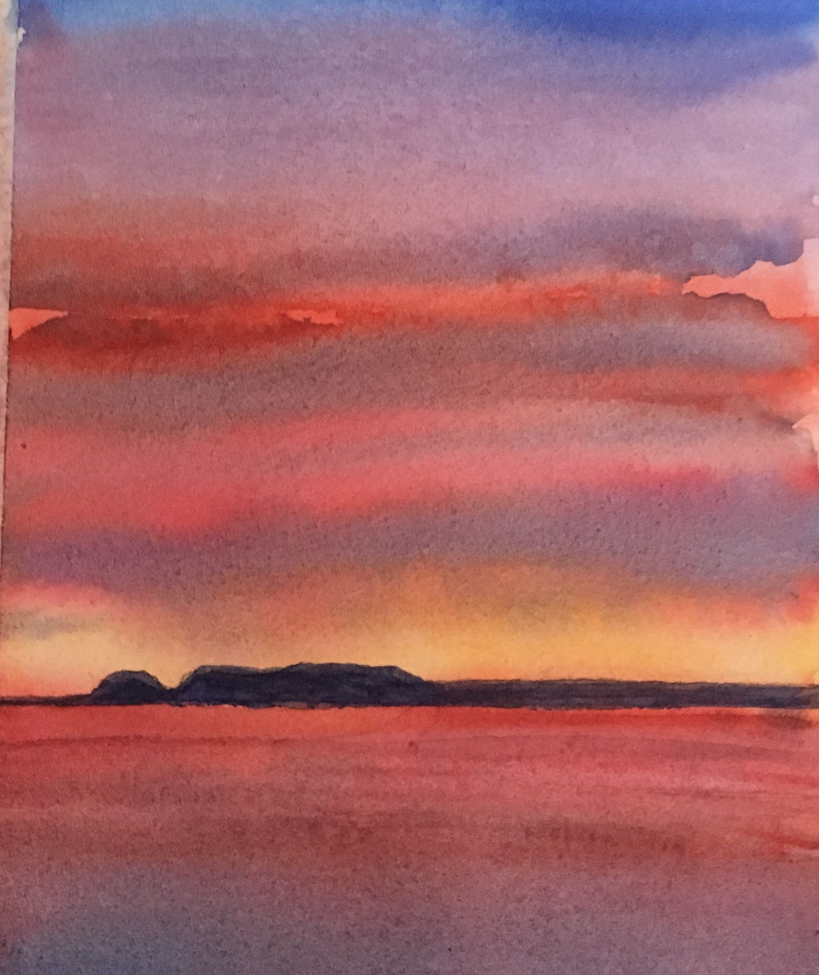 Giant Sunrise Watercolour Painting By Ken Crawford 5 X7