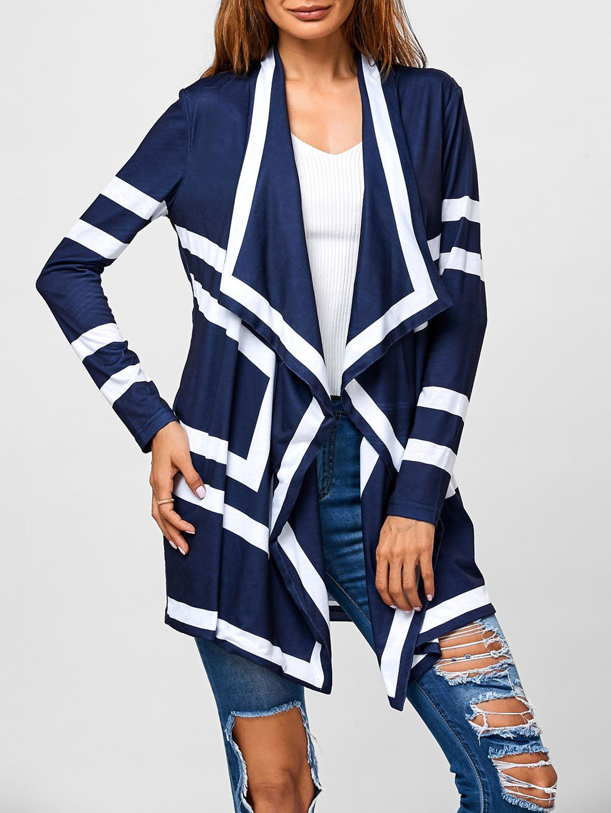 Contrast Trim Geometric Pattern Cardigan in Blue And White ...