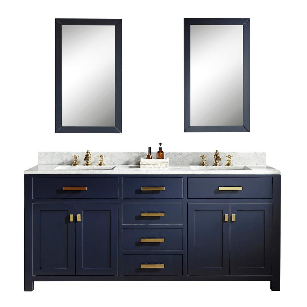 Water Creation 72 In Bath Vanity In Monarch Blue W Carrara White
