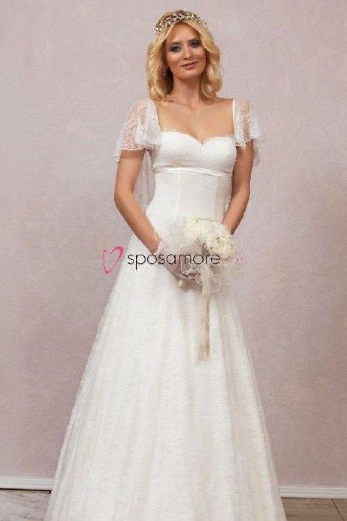 rosario - abito da sposa con maniche corte in pizzo 89f7dbe289d