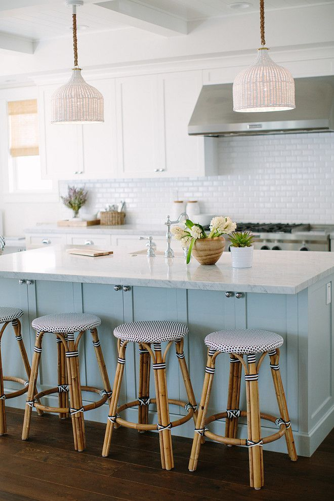 Beautiful ice blue and white kitchen with bistro style bar stools beautiful ice blue and white kitchen with bistro style bar stools and woven pendant lights aloadofball Images