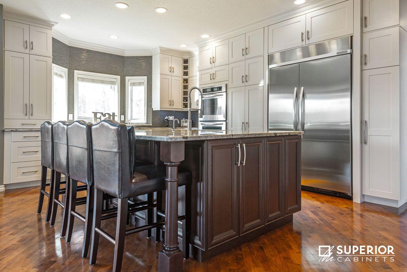 Ordinaire ... Meringue Finish; Island Cabinets: Maple, Molasses Finish;Countertops:  Granite, Colour Unknown; Design By: David Contardi, Superior Cabinets  Edmonton; ...