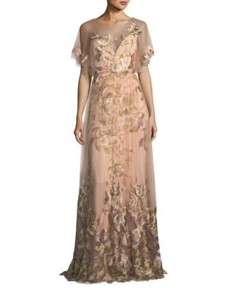 f8a86836128 Embroidered+Tulle+Flutter+Sleeve+Evening+Gown+by+Marchesa+Notte +at+Bergdorf+Goodman.