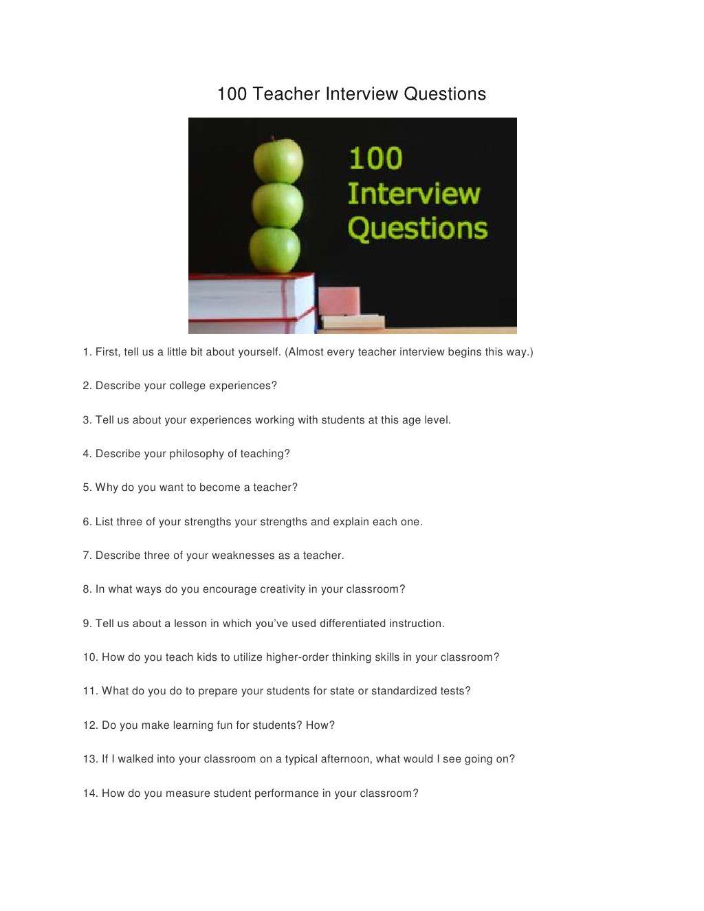 100 Teacher Interview Questions | Interviewing | Teacher