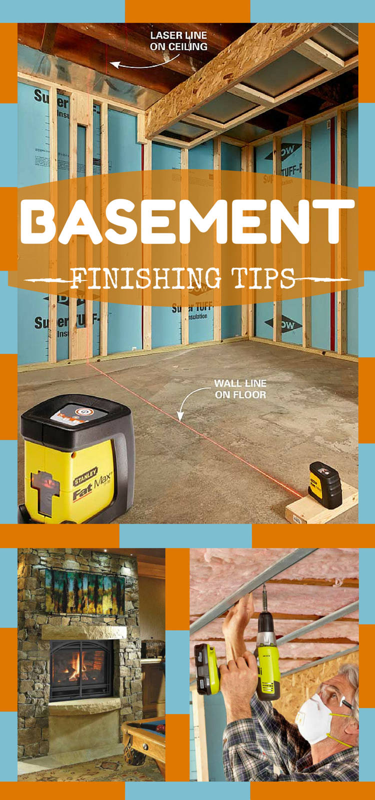 Basement finishing on pinterest Diy basement finishing ideas