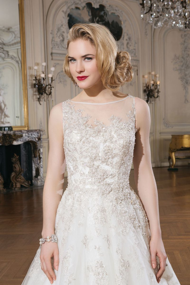 Justin alexander style beaded embroidered lace ball gown