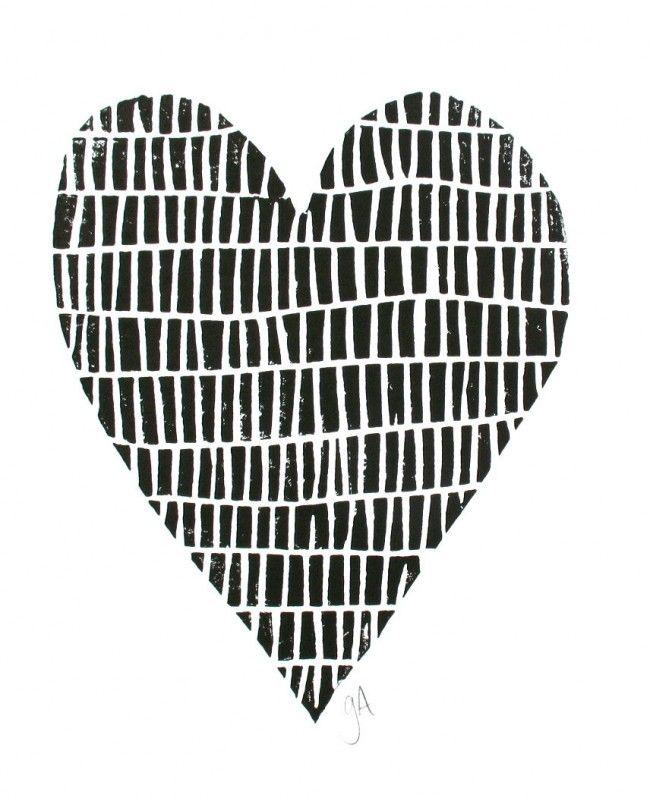 Minimal Black Heart Print Zwart Wit Prints Zwart En Wit