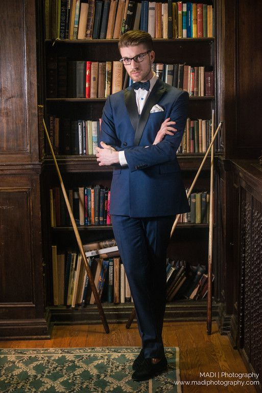 Slimming Bold Navy Jacket and Pants, matching bowtie in Scarzza's charcoal loafers   Model: Julien