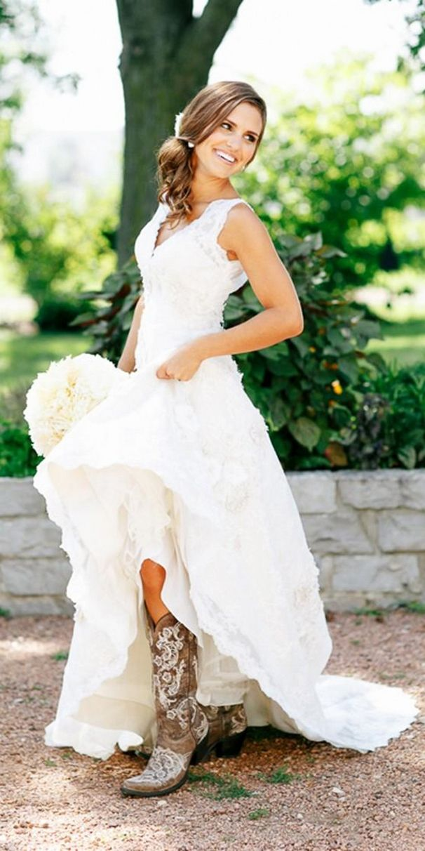 Simple country style wedding dresses with boots trends for Wedding dresses for outdoor country wedding
