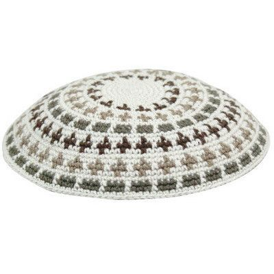 C FLAT D.M.C. KIPPAH 12 cm - BEIGE WITH GREEN AND BROWN