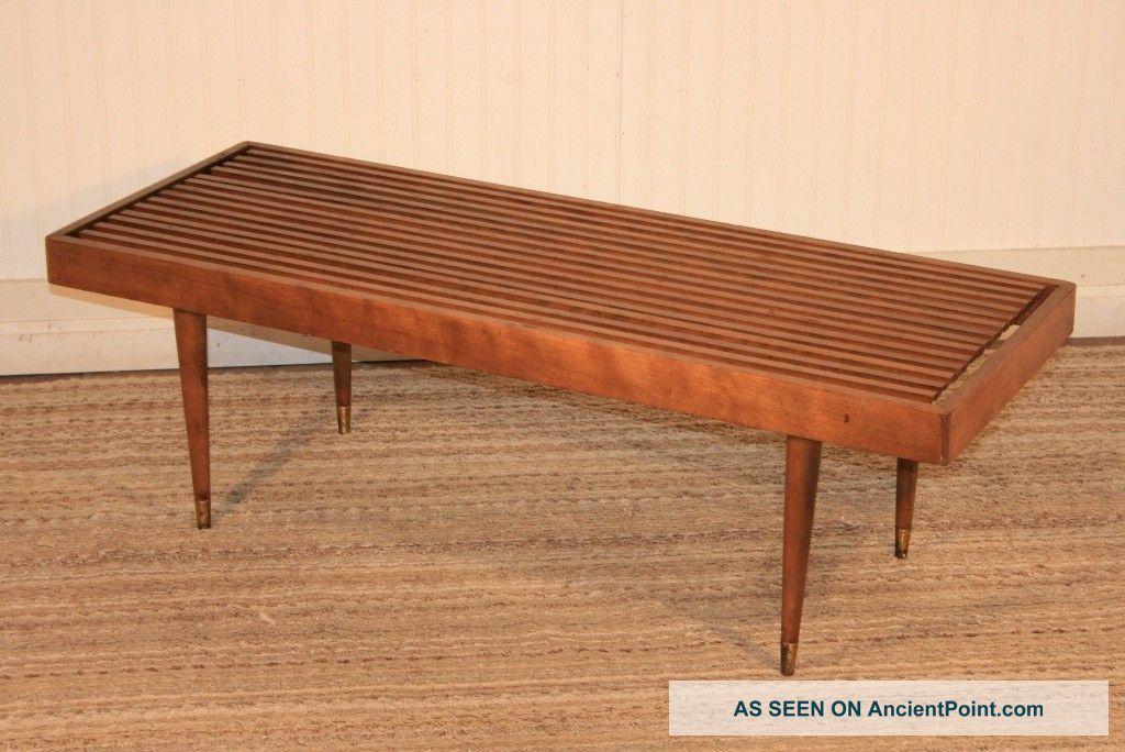 Vtg Mid Century Modern Slat Bench Coffee Table Danish Design Nelson Eames  Era Post-1950