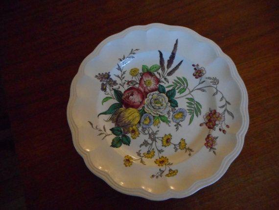 Spode Gainsborough por Copeland contados platos vintage, florales brillantes y…