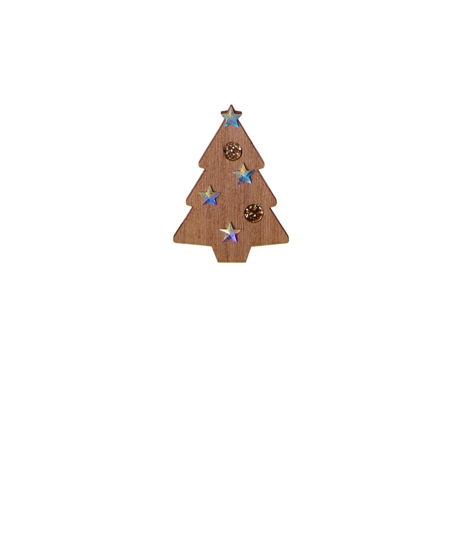 Christmas Tree Brooch - Sparkle through the festive season with the Christmas Tree Brooch. A classic silhouette is laser cut in smooth wood, decorated with glitter gold acrylic inlays and sparkling Swarovski crystals. Pin to an Aran knit for cosy seasonal style.