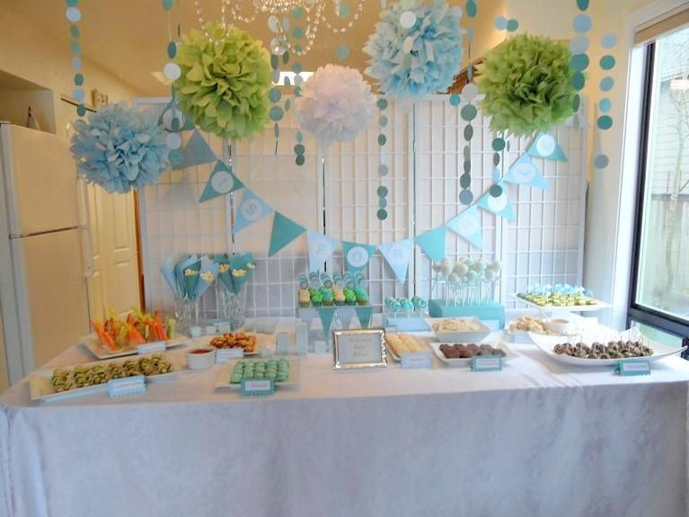 Sea colored baby shower ideas \