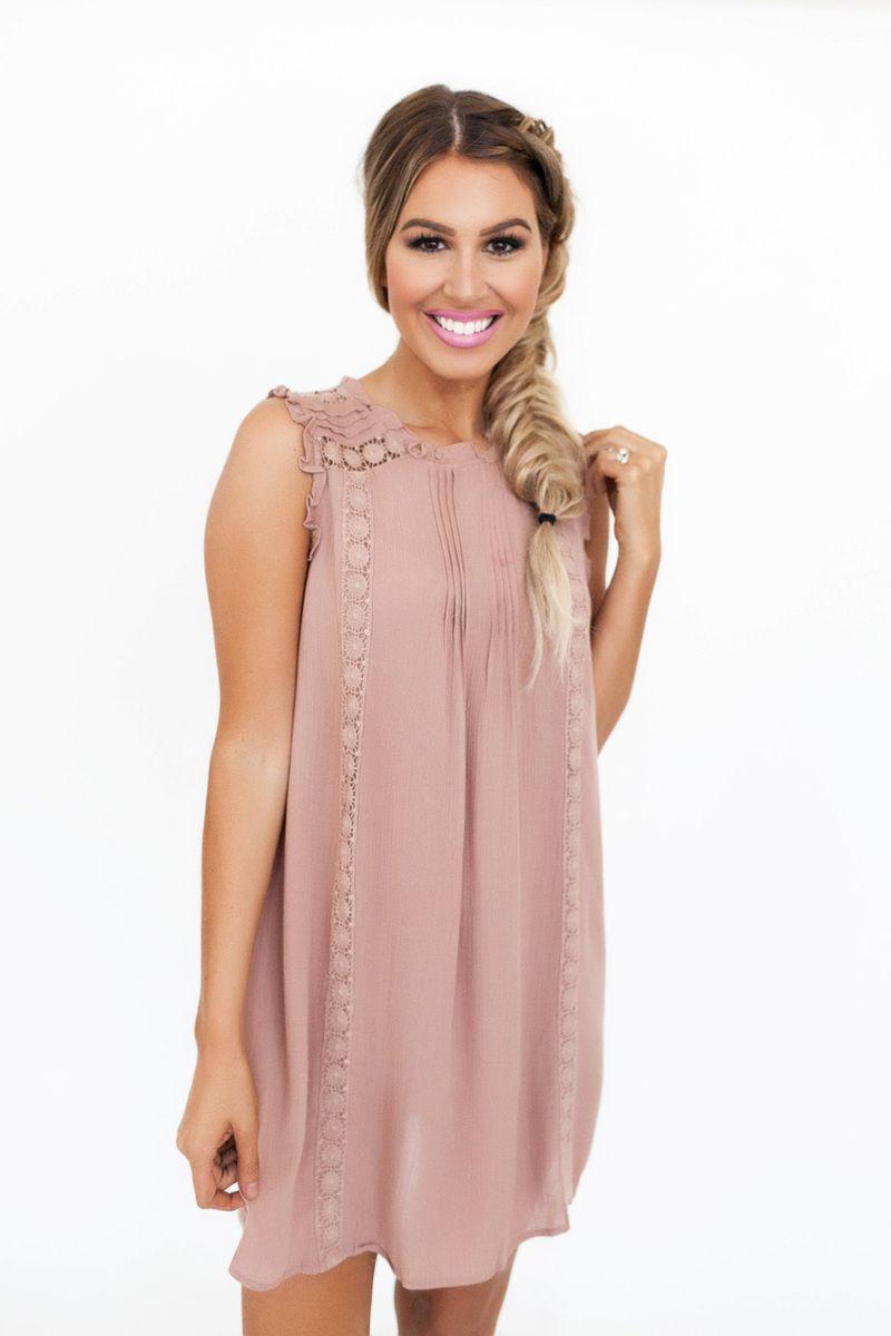 Mauve Crochet Detail Dress | clothes | Pinterest
