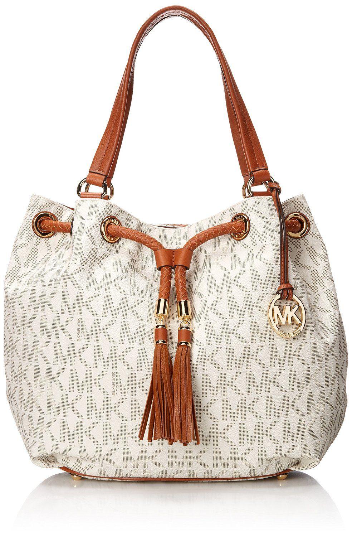 Amazon.com: Michael Kors Handbag Jet Set Item Large Signature Tote Vanilla:  Michael